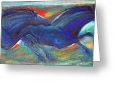 Blue Horses 2 Greeting Card
