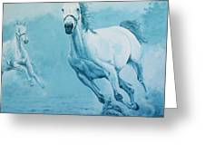 Blue Horses Greeting Card