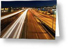 Blue Hour Freeway Light Trails Greeting Card