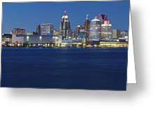 Blue Hour In Detroit Greeting Card