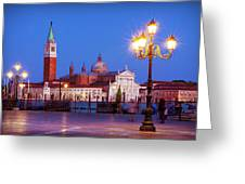 Blue Hour In Venice Greeting Card by Barry O Carroll