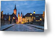 Blue Hour In Wuerzburg Greeting Card