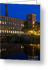 Blue Hour Over The Cocheco Mills Dover New Hampshire Greeting Card
