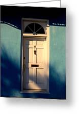 Blue House Door Greeting Card by Susanne Van Hulst