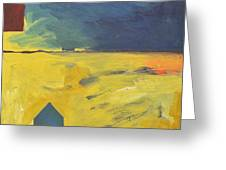 Blue House Gold Field Greeting Card