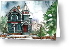 Blue House On A Grey Day Greeting Card