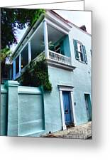 Blue House With A Blue Door Greeting Card