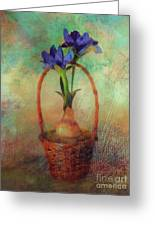 Blue Iris In A Basket Greeting Card