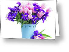 Blue And Pink Greeting Card