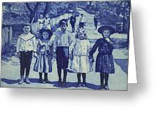 Blue Kids Greeting Card