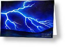 Blue Lightning Above The Ocean Greeting Card