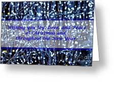 Blue Lights Abstract Christmas Greeting Card