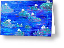 Blue Lily Pond Greeting Card