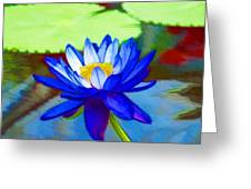 Blue Lotus Flower Greeting Card