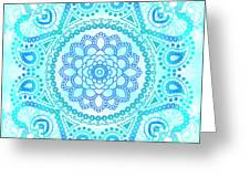 Blue Lotus Mandala Greeting Card