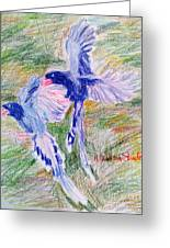 Blue Magpies Greeting Card