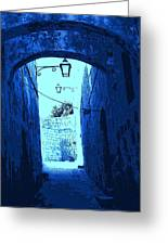 Blue Maltese Arch Greeting Card