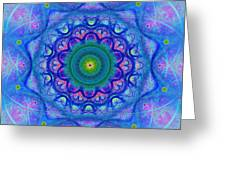 Blue Mandala For Heart Chakra Greeting Card