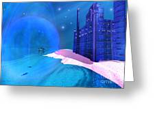 Blue Mansions Greeting Card