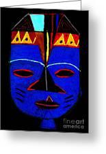 Blue Mask Greeting Card by Angela L Walker