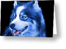 Blue Modern Siberian Husky Dog Art - 6024 - Bb Greeting Card