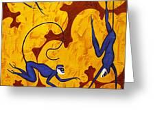 Blue Monkeys No. 45 Greeting Card