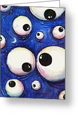 Blue Monster Eyes Greeting Card