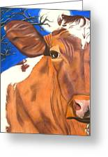 Blue Moo Greeting Card