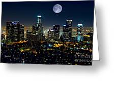 Blue Moon Over L.a. Greeting Card