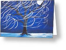 Blue Moon Willow In The Wind Greeting Card
