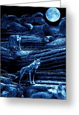 Blue Moon Wolf Pack Greeting Card