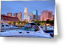 Blue Morning On Boston Harbor Greeting Card