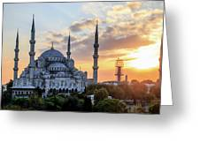 Blue Mosque At Sunset Greeting Card