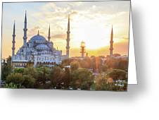 Blue Mosque Sunset Greeting Card