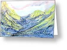 Blue Mountains Alcohol Inks  Greeting Card