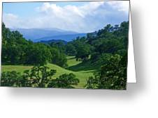 Blue Mountains Green Pastures Greeting Card