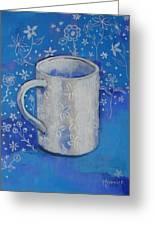 Blue Mug With Flowers Greeting Card