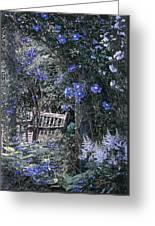 Blue Muted Garden Respite Greeting Card