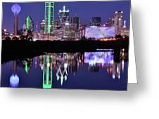 Blue Night And Reflections In Dallas Greeting Card