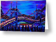 Blue Night Of St. Johns Bridge 37 Greeting Card