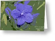 Blue On Green Work Number 9 Greeting Card