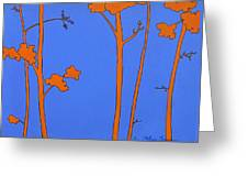 Blue Orange Tree Greeting Card