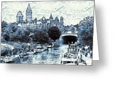 Blue Ottawa Skyline - Water Color Greeting Card