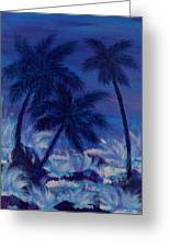 Blue Palm Greeting Card
