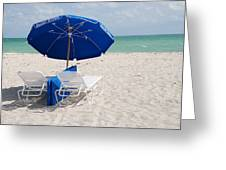 Blue Paradise Umbrella Greeting Card