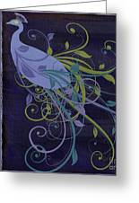 Blue Peacock Art Nouveau Greeting Card