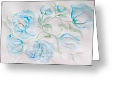 Blue Peonies Greeting Card