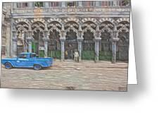 Blue Pickup In Cuba Greeting Card