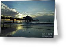 Blue Pier 60 Sunset Greeting Card