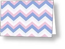 Blue Pink Chevron Pattern Greeting Card